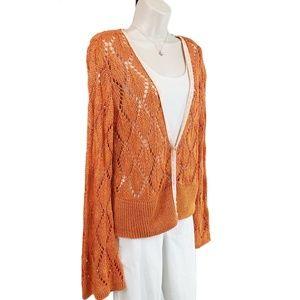 CAbi cardigan crochet knit bell sleeve orange XL